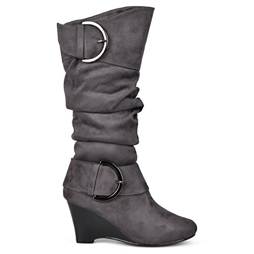 17 Inch Knee Boot - Brinley Co. Womens Regular and Wide-Calf Knee-High Buckle Slouch Wedge Boot Grey, 10 Extra Wide Calf US