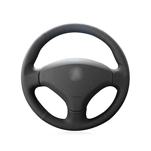 KDKDKLMB steering wheel cover Black Genuine Leather Car Steering Wheel Cover for Old Peugeot 408 Peugeot 308: