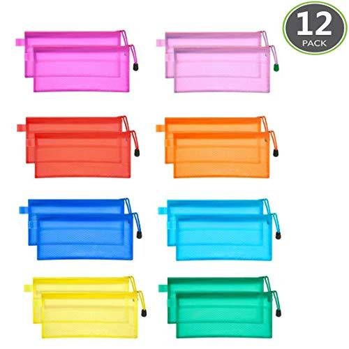 JM-Capricorns Waterproof Plastic Double Layer Zipper File Bags Invoice Pouches Bill Pencil Pouch Pen, 12 Piece
