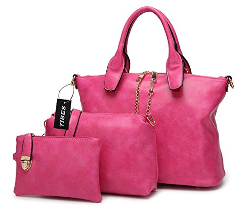 Tibes Bolso de las señoras de la manera Bolsa de hombro Conjunto del monedero 3pcs del dinero Rosa Rosa
