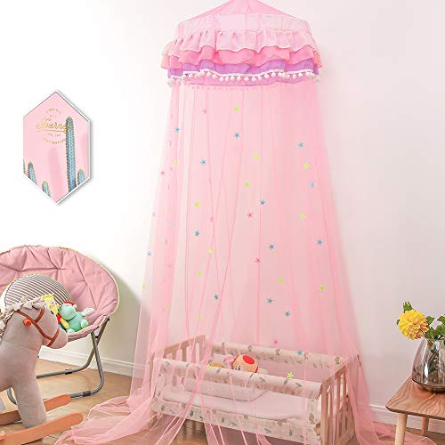 (Twinkle Star Princess Bed Canopy with Ruffle Lace for Baby, Girls, Bonus Nightlight Star (Pink))