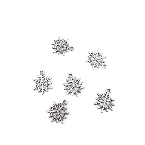 20 Pieces Jewelry Making Charms DYQO03 Snowflake Pendant Ancient Silver