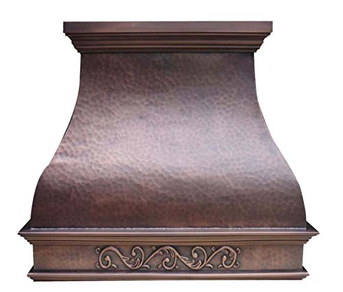 Handmade Custom Range Hood for Country Style Kitchen Antique Copper Patina with Hand Embossed Pattern Wrapped Around Liner and Internal Motor Included Sinda H2LA
