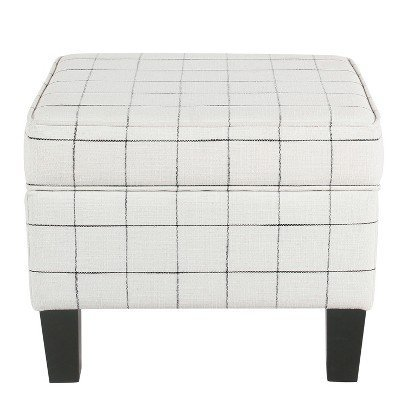 Homepop Medium Storage Ottoman White Windowpane White ()