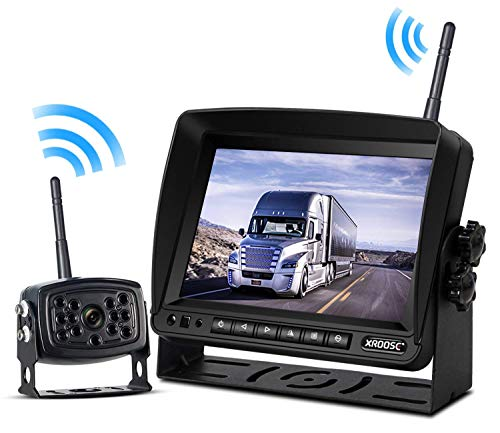 Wireless Backup Camera with Monitor System for RV Rearview Reversing Back Camera No Interface IP69 Waterproof Big 7 Wireless Monitor for Truck Trailer Heavy Box Truck Motorhome