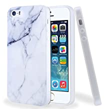 For iPhone SE / 5 / 5S Case, ivencase White Marble Pattern Flexible Soft Rubber TPU Skin Case Bumper Silicone Gel Cover for iphone 5 / 5S / SE