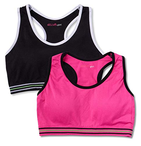 dELiAs Girls Nylon/Spandex Seamless Sports Bra with Removable Pads (2 Pack)