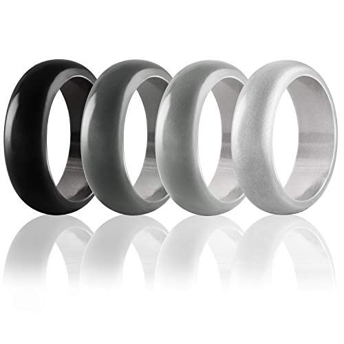 Egnaro First Bright Silicone Wedding Ring Men, Silicone Rubber Wedding Bands, Size 8 9 10 11 12 13, Safe Comfortable
