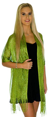 Shawls and Wraps for Evening Dresses, Wedding Shawl Wrap Fringes Scarf for Women Light Lime Green Petal Rose