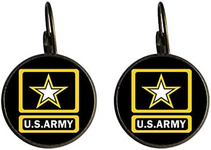 GiftJewelryShop Bronze Retro Style Character Army Photo Dangle Leverback Earrings 16mm diameter