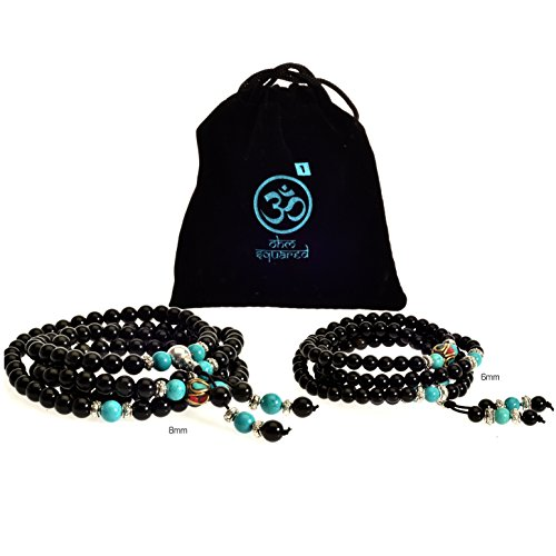 Price comparison product image Mala Beads Tibetan Meditation Buddhist Genuine Black 108 Obsidian Healing Stones Turquoise Gemstone Wrist Bracelet / Bead Necklace - For Prayer, Yoga, Mantras, Reiki, Mudras, Energy Work