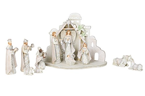 Filigree Ivory Lace Resin Dolomite Nativity and Creche Stable 12 Piece Set