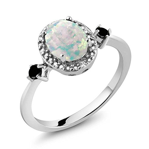 Gem Stone King 1.19 Ct Oval Cabochon White Simulated Opal Black Diamond 925 Sterling Silver Ring With Accent Diamond