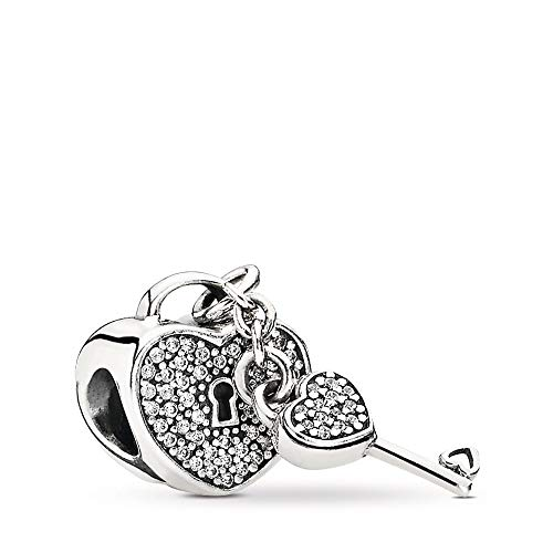 (PANDORA Lock Of Love Charm, Sterling Silver, Cubic Zirconia, One Size)