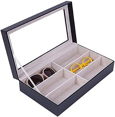 Caja de Almacenamiento para la Gafas , Domésticos gafas de lectura de pantalla anteojos modernos Organizador 6 ranuras Gafas cuadro titular de almacenamiento Sunglass elegante Guardar Gafas de Sol Org: Amazon.es: Hogar