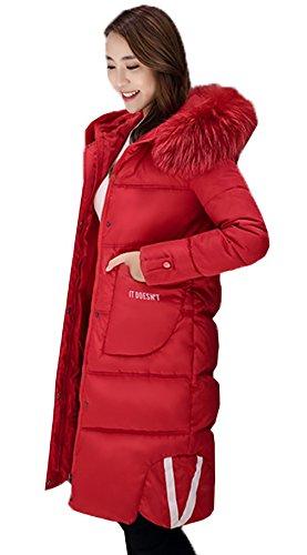 Manteau Manches Longues Vogue Slim Doudoune Femme Bigood Capuche Rouge Chaud waSq55F