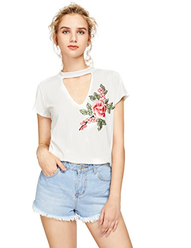 Neck Flower Embroidered Top - 4