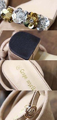 SHEO sandalias de tacón alto Mujeres de gamuza de tacón alto con una palabra hebilla sandalias Albaricoque