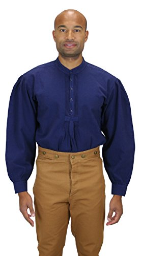 [Historical Emporium Men's Fundamental Cotton Work Shirt L Navy] (Sweeney Todd Halloween)