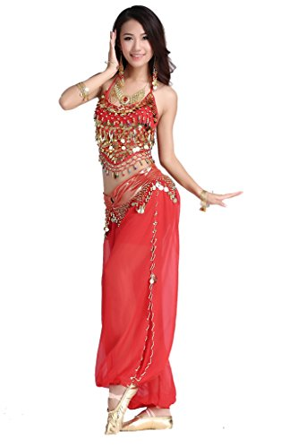 ZLTdream Lady's Belly Dance Chiffon Banadge Top and Lantern Coins Pants Red, One Size]()