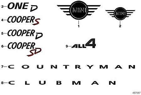 Original Mini Logo Emblem Motorhaube Schwarz Vorne Countryman F60 51142465237 Auto