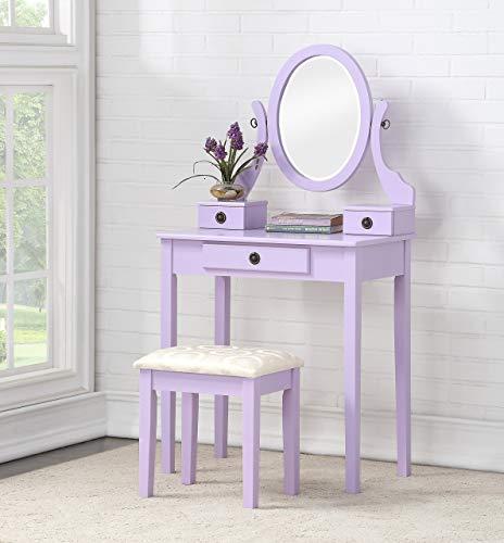 Roundhill Furniture 3415PL Moniys Wood Moniya Makeup Vanity Table and Stool Set, Purple (Bedroom Furniture Purple Sets)