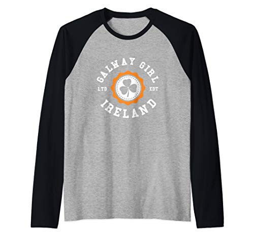 GALWAY GIRL Ireland Shamrock Irish Badge Raglan Baseball Tee