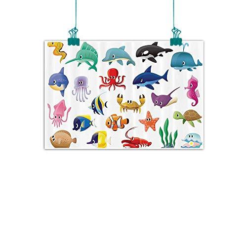 Whale Decor Collection Modern Oil Paintings Marine Organisms Stingray Squid Star and Sea Horse Sailfish Lobster Fun Artwork Canvas Wall Art 35