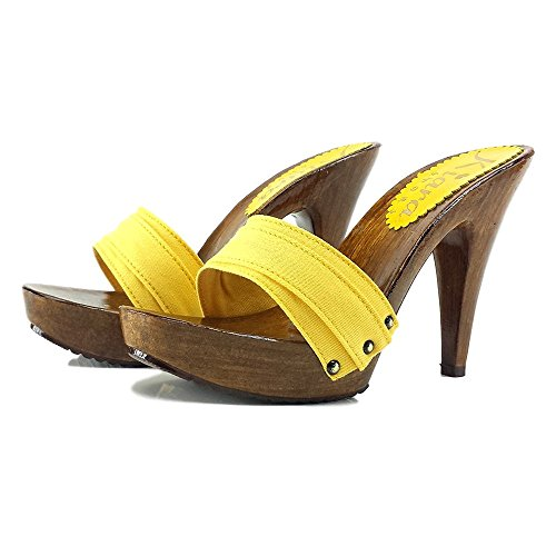 Yellow Woman For cm 11 Yellow Clogs Heel shoes K21101 kiara q7fTwUx