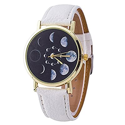 Polytree Unisex Moon Phase Astronomy Space Watch Faux Leather Band Quartz Wrist Watch