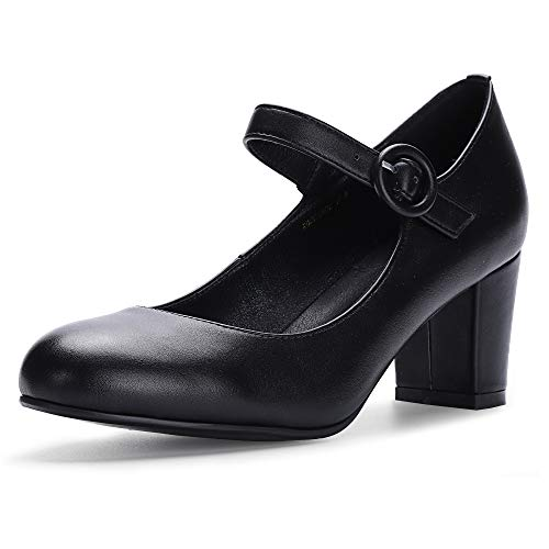 IDIFU Women's RO2 Candy Classic Low Chunky Block Heel Mary Jane Round Toe Buckle Strap Office Work Pumps Shoes (7 M US, Black Pu) -