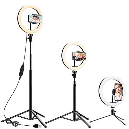 """Anozer Aro de luz, 10.2"""" LED aro de Luz con 57.1"""" Trípode Alto y Trípode Metal de Mesa&Soporte Movil, Anillo luz de 3…"""