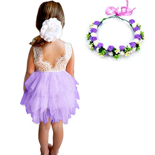 (MY-PRETTYGS Girl Sleevless Beaded Peony Lace Tutu Dress,Backless Design Flower Dress with Wreath Headband (Purple, 4T))