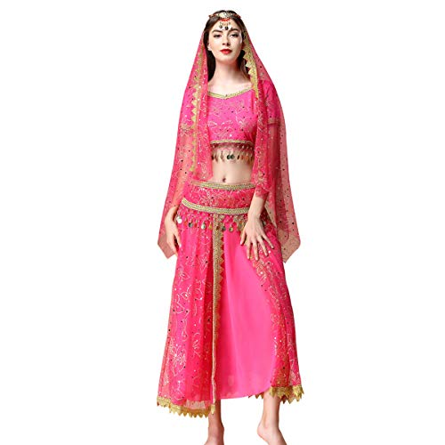 Women's Belly Dance Chiffon Bollywood Costume Indian Dance Outfit Halloween Costumes with Coins 5 Pieces Sets(Rosy, Medium) -