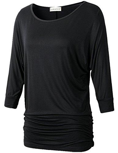 Lanmo-Womens-Dolman-Sleeves-Drape-Tops-Solid-Side-Shirring-Jersey-Tee