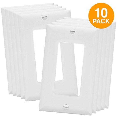 Rectangular Covers Light (Decorator Switch Wall Plate by Enerlites 8831-W | Home Outlet Cover, 1-Gang Standard Size, for Paddle Rockers, GFCI Devices, Timers, Dimmers, Sensors - Unbreakable Polycarbonate, White, 10-Pack)