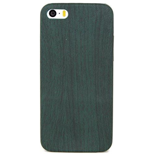 König-Shop Apple iPhone 6 Plus / 6s Plus TPU Handy Hülle Holz Optik Schutz Case Grün Cover