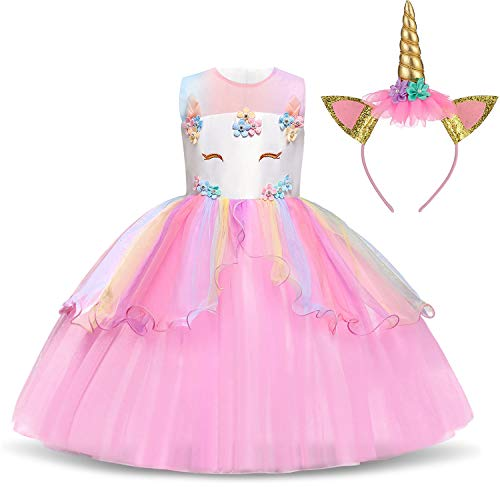 TTYAOVO Flower Girls Unicorn Costume Dress Girl Princess Pageant Party Dress 5-6 Years Pink ()