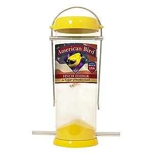 Droll Yankees Bird Feeder, Finch Feeder, American Bird, 8-inch, 2 Ports, Yellow, AB-F8Y