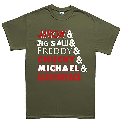 Mens Halloween Movie Characters Costume T Shirt (Tee) XL Military Green