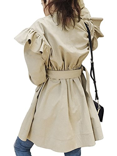 Simplee Women's Elegant Double Breasted Long Belted Trench Coat with Ruffle Khaki ()