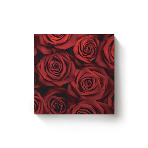 YEHO Art Gallery Canvas Wall Art Square Artwork Christmas Office Home Decor,Red 3D Rose Flower Pattern Pictures,Stretched by Wooden Frame,Ready to Hang,20 x 20 Inch