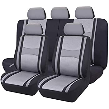 CAR PASS Jazz 11PCS Universal Fit Car Seat Cover -100% Breathable with 5mm Composite Sponge Inside,Airbag Compatible (Dark Gray)