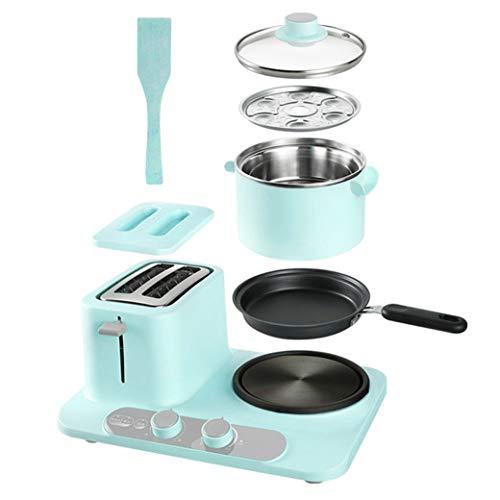 NOKUN Family Three-in-One Retro Breakfast Machine, Toaster Oven Pan Three-in-One Multi-Function Breakfast Center, Regular, Blue