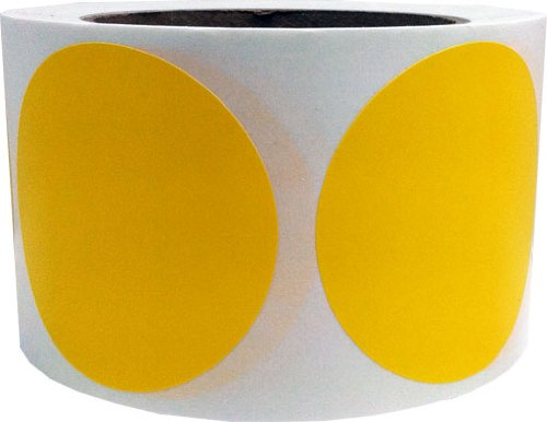 "Yellow Color Coding Dot Labels 3"" Inch Round - 500 Colored Circle Inventory Stickers Per Roll"