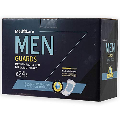 Medokare Incontinence Pads for Men - 24pack Discreet Maximum Absorbency Men Pads, Individually Wrapped Cup Bladder Control Pads, Hospital Grade Men Guards Urine Leakage Protection, Shields for Men ()