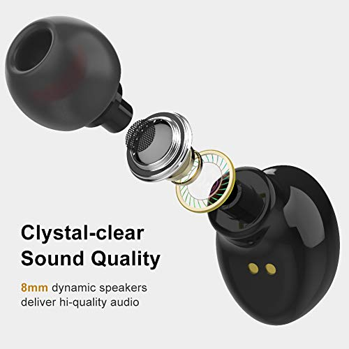 Upgraded 2019 True Wireless Bluetooth Earbuds, AairHut A5 Bluetooth 5.0 Sweatproof Bluetooth Headphones, 30 Hours Playtime with Charging Case – Built in Microphone and Volume Controls