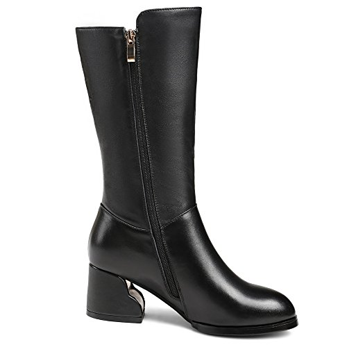 Nine Leather Genuine Black Handmade Toe Block Boots Round Calf Women's Heel Classic Seven Comfort Mid nBTxqHrn