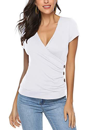Yidarton Women's Wrap Top Deep V Neck Short Sleeve Unique Slim Fit Shirt Crop Top (Medium, White)