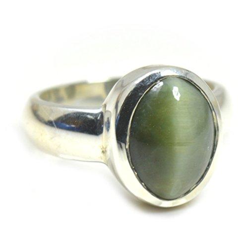- 55Carat Natural 4 Carat Cat's Eye Gemstone Silver Ring For Men Women US Size 4,5,6,7,8,9,10,11,12,13